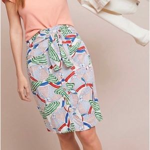 Anthropologie Button Front Umbrella Pencil Skirt 6